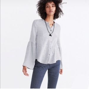 Madewell | Windowpane Bell Sleeve Button Down Top